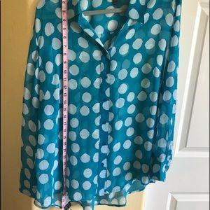 Lane Bryant 14/16 polka dot sheer tunic NWOT